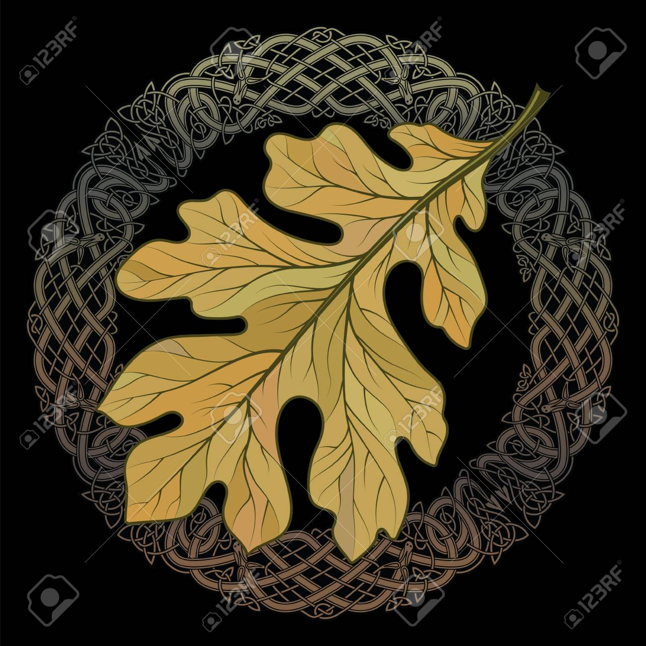 oak leaf in autumn coloring and celtic magic ornament royalty free cliparts vectors and stock illustration image 89605839 oak leaf in autumn coloring and celtic magic ornament