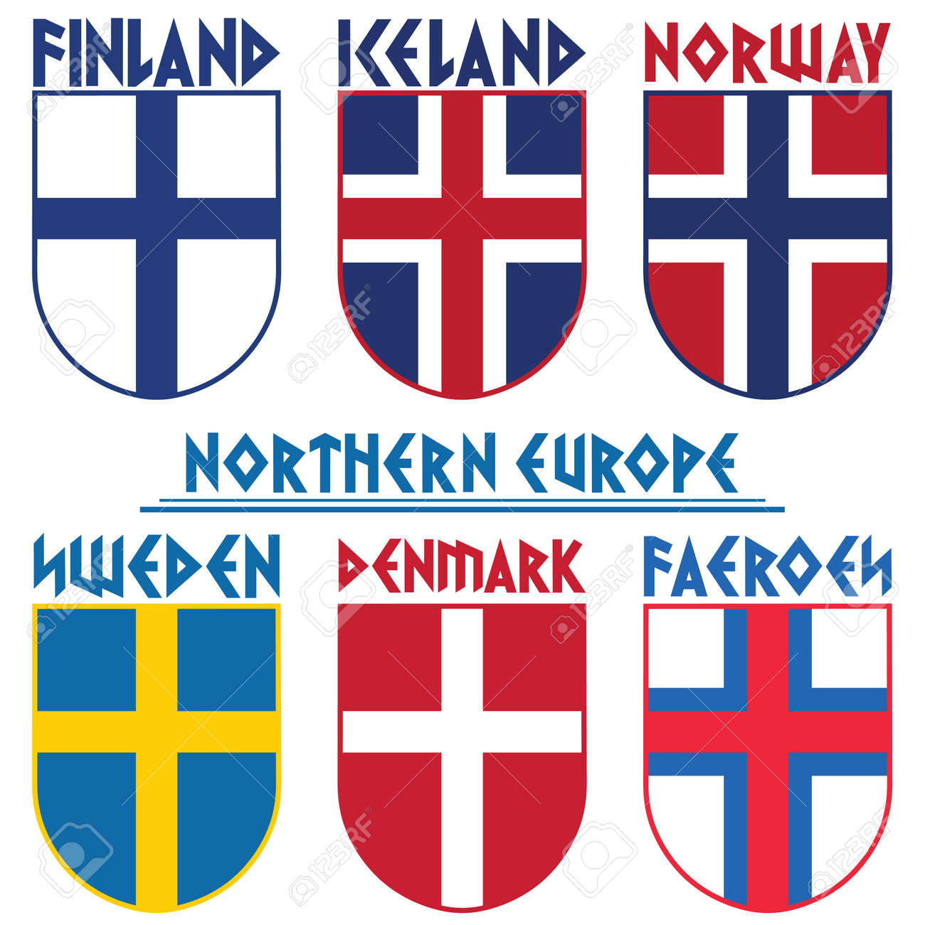 Flags of the Nordic countries, Scandinavia. Norway, Iceland, Sweden, Denmark, Finland, Faroe Islands - 167256727