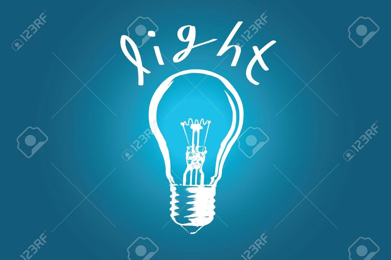 背景色とテキストの電球とアイデア イラスト画像 ロイヤリティフリー