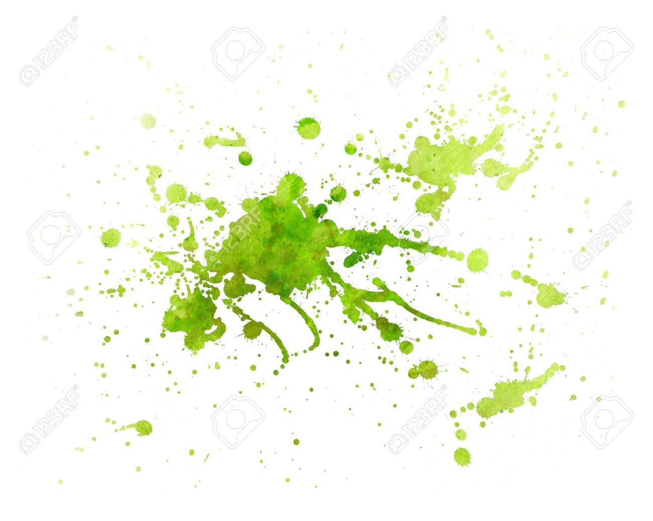 Abstract Green Painting Splash Of Water Color With Texture Stock
