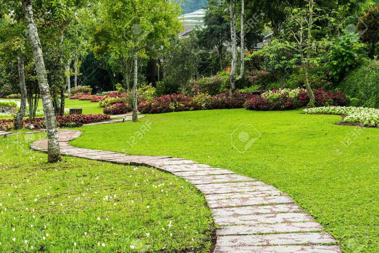 L\'aménagement Paysager Dans Le Jardin. Le Chemin Dans Le Jardin ...
