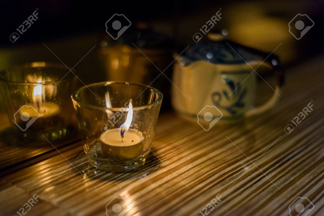 Candle Light Dinner In The Restaurant Stock Photo   84619812