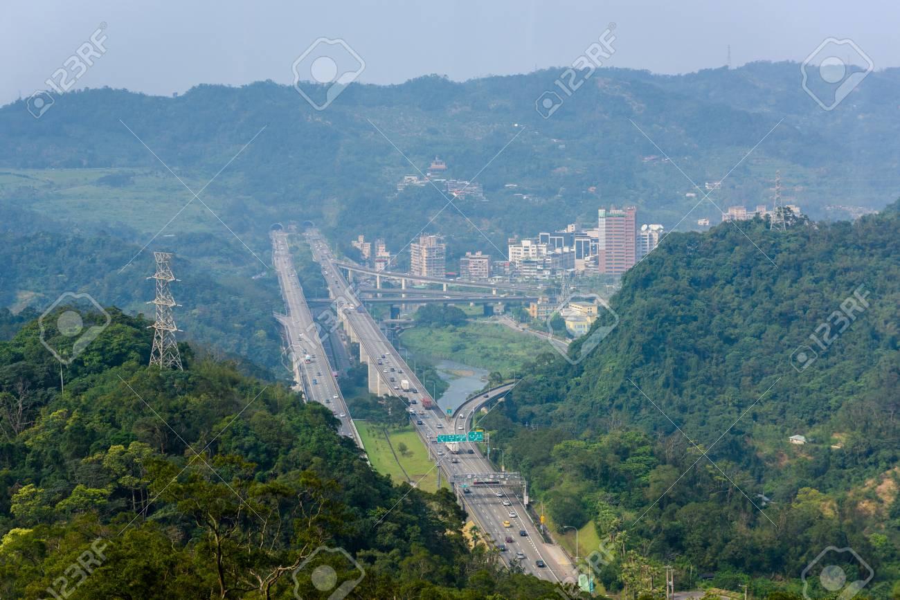 View of Taipei City From Window of Maokong Gondola, Taiwan