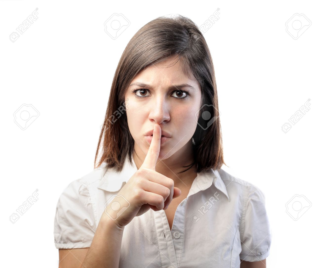 Woman telling to be silent Stock Photo - 8601636