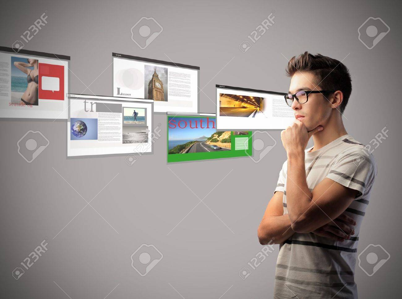 Young man with browser screenshots in the background Stock Photo - 10916875