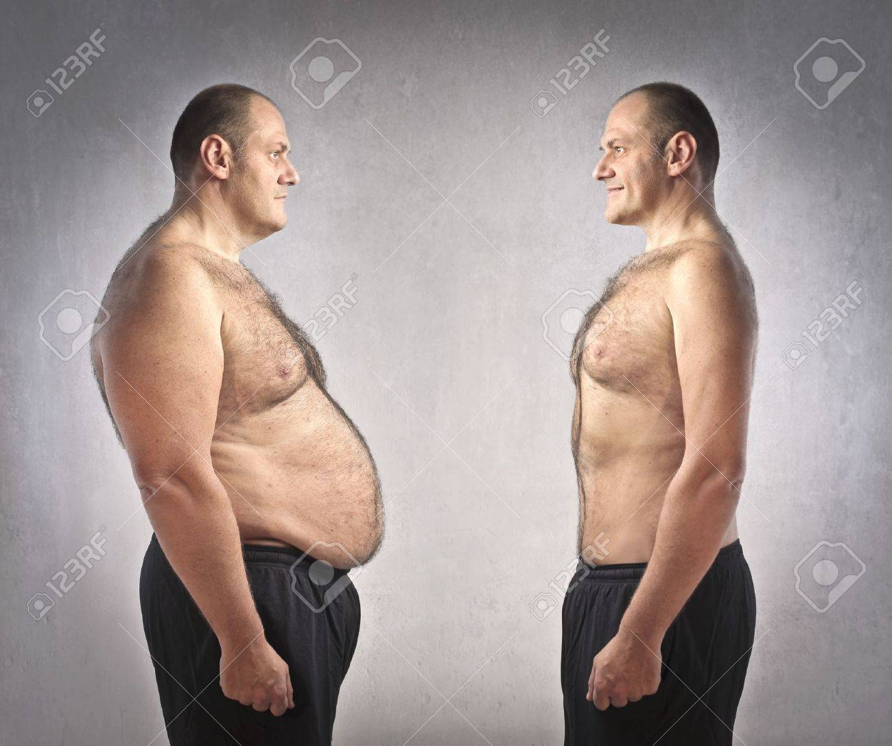 Fat man with fitter one in front of him Stock Photo - 11489924