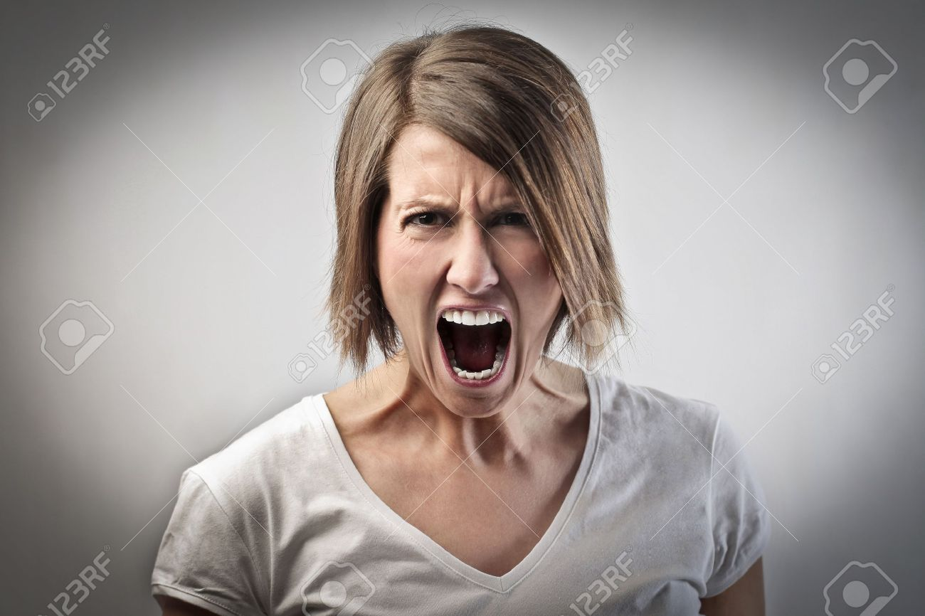 Grimace face clip art stock photo woman pulls a face in upset - Ugly Face Angry Woman Screaming