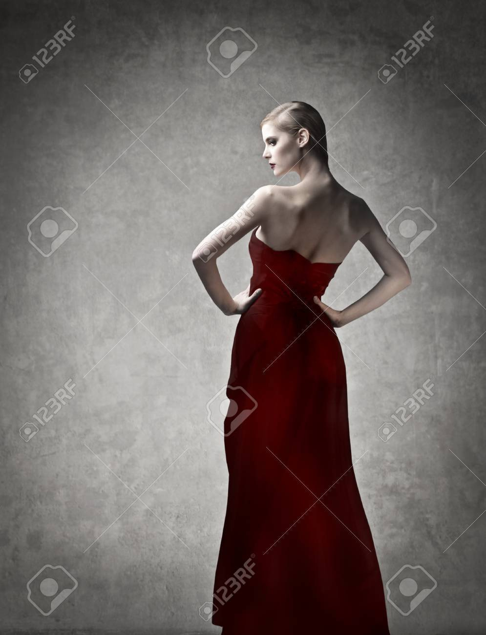 Beautiful Elegant Woman In Red Evening Gown Stock Photo, Picture And ...