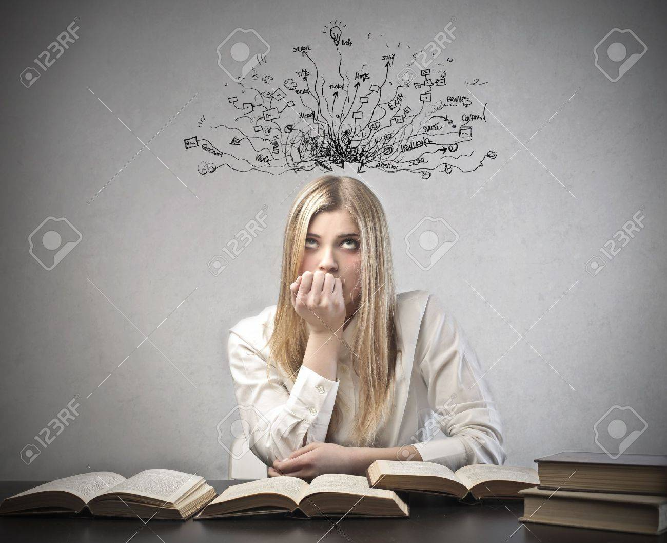 Young student with thoughtful expression and tangled lines and symbols coming out of her head Stock Photo - 12802888