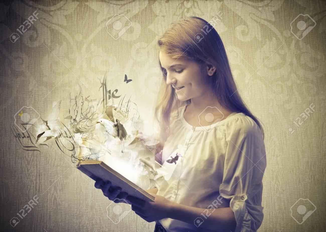beautiful girl read book fantasy Stock Photo - 17254738