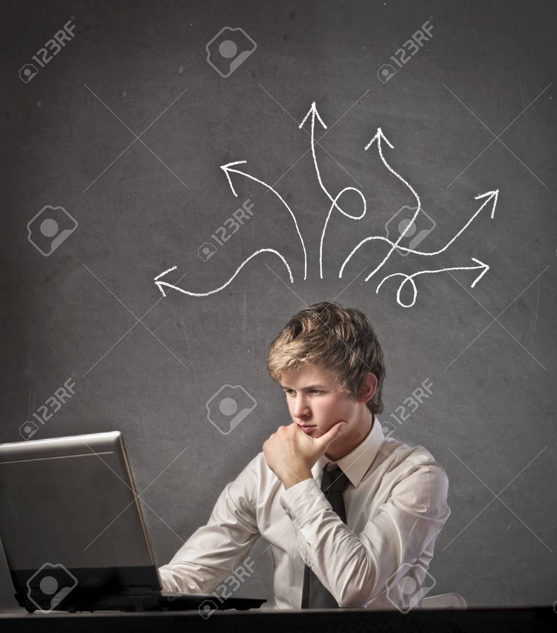 Businessman thinking a solution to a problem Stock Photo - 15237784