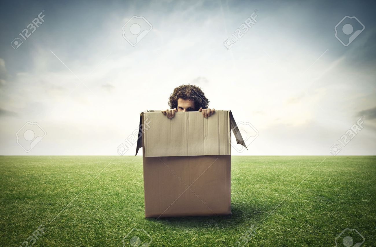 Man hiding in a box on a large grace field Stock Photo - 15930175