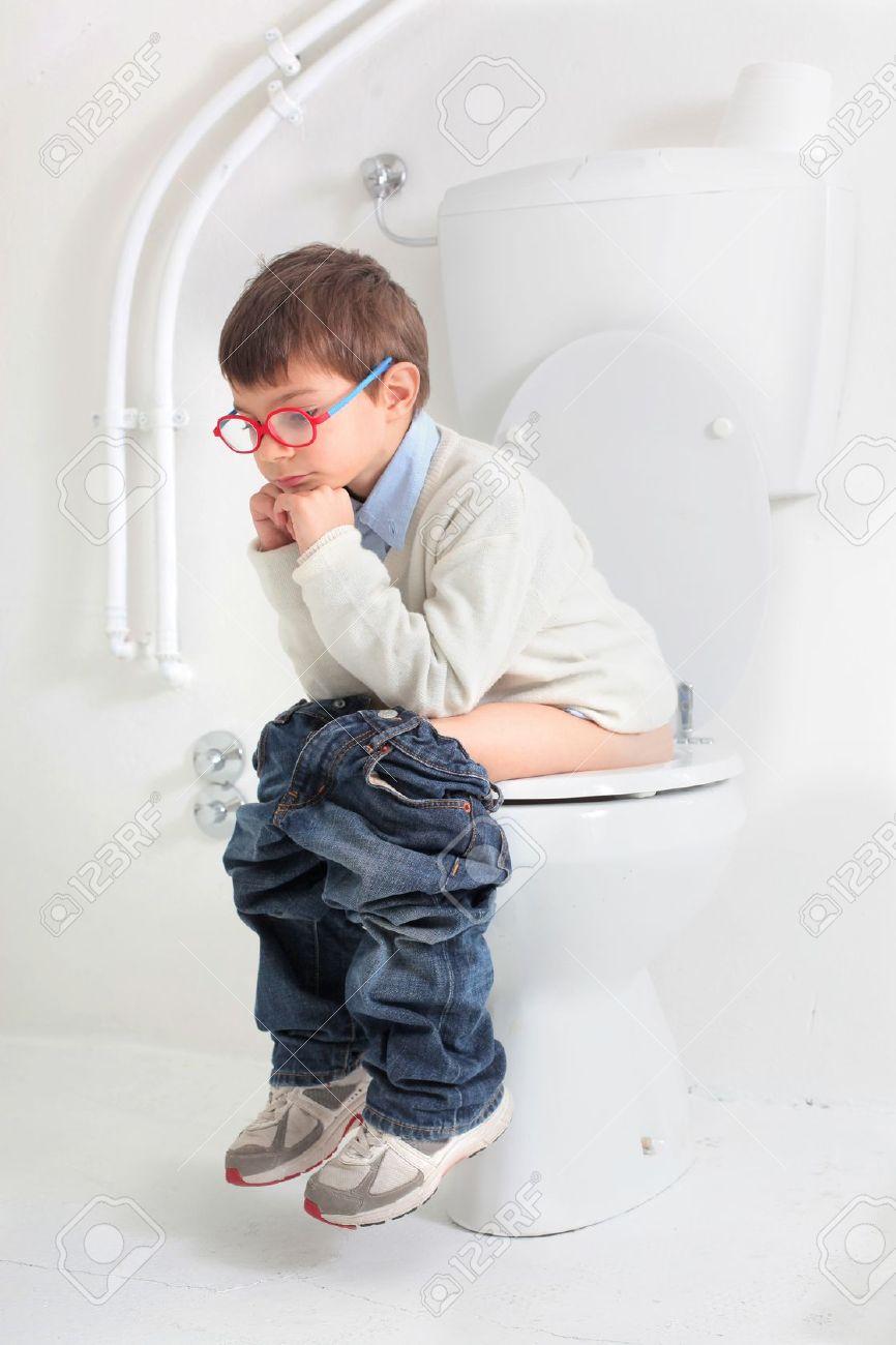 baby sitting on the toilet Stock Photo - 17238721
