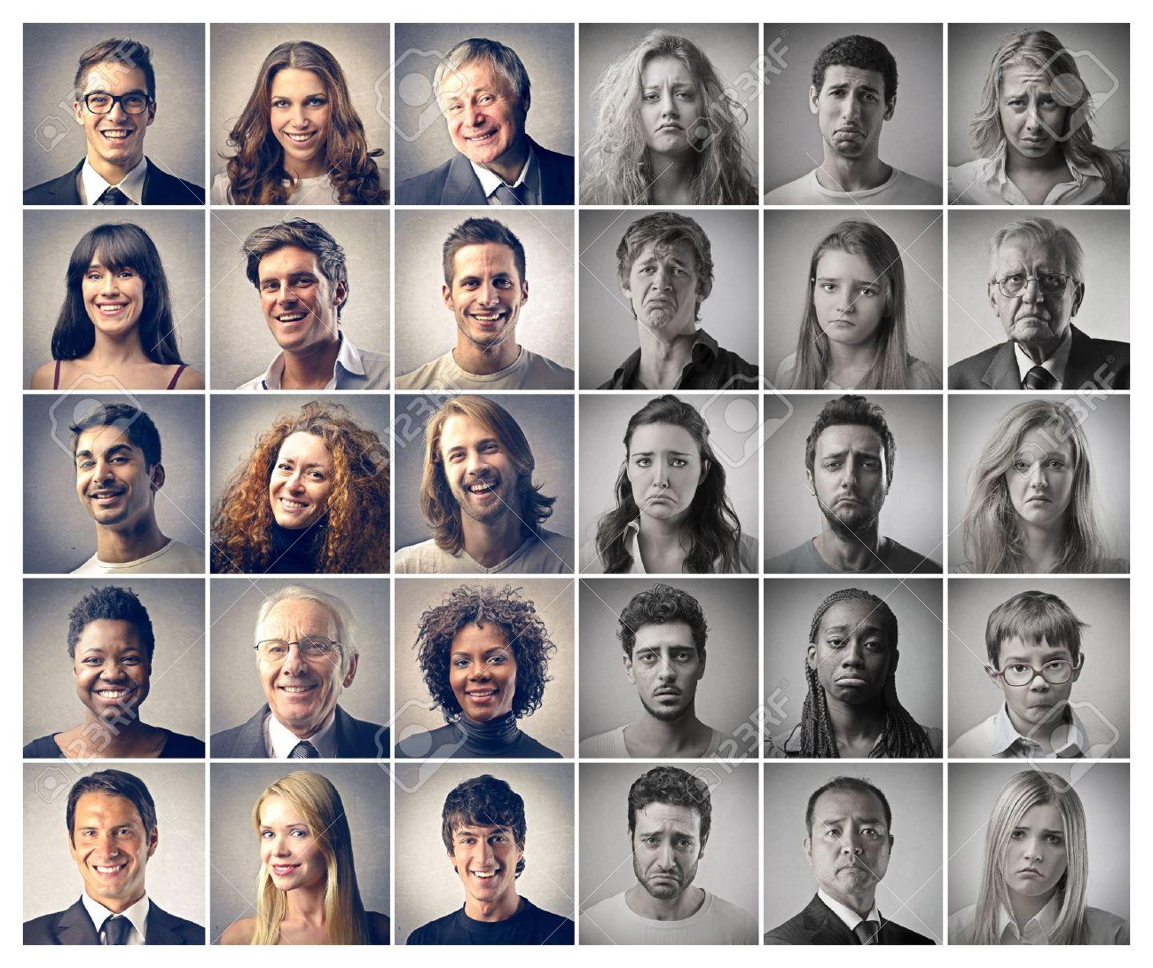 mosaic portraits people happy and sad Stock Photo - 17692568