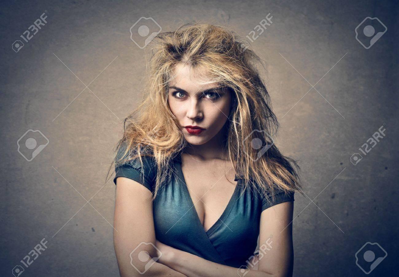 beautiful blonde woman on gray background Stock Photo - 18294886