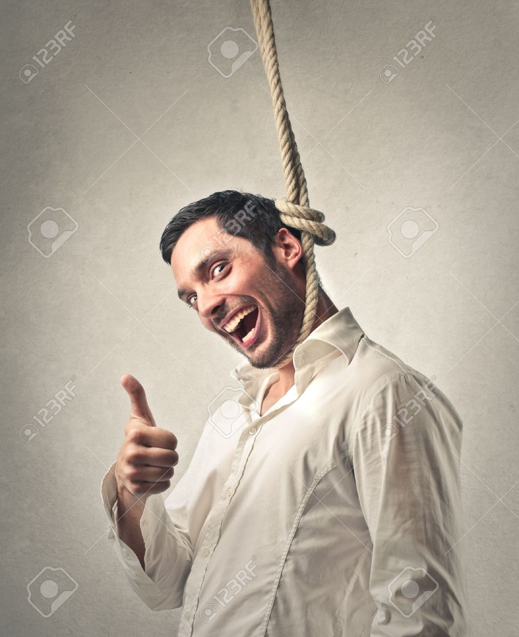 Man Hanging Up Himself With Happiness Stock Photo, Picture And Royalty Free  Image. Image 19501797.