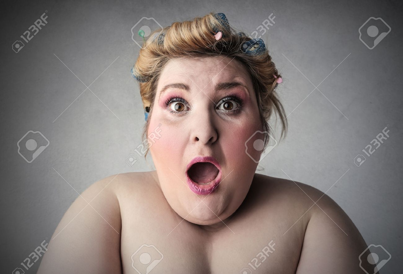 chubby woman expressing surprise stock photo, picture and royalty