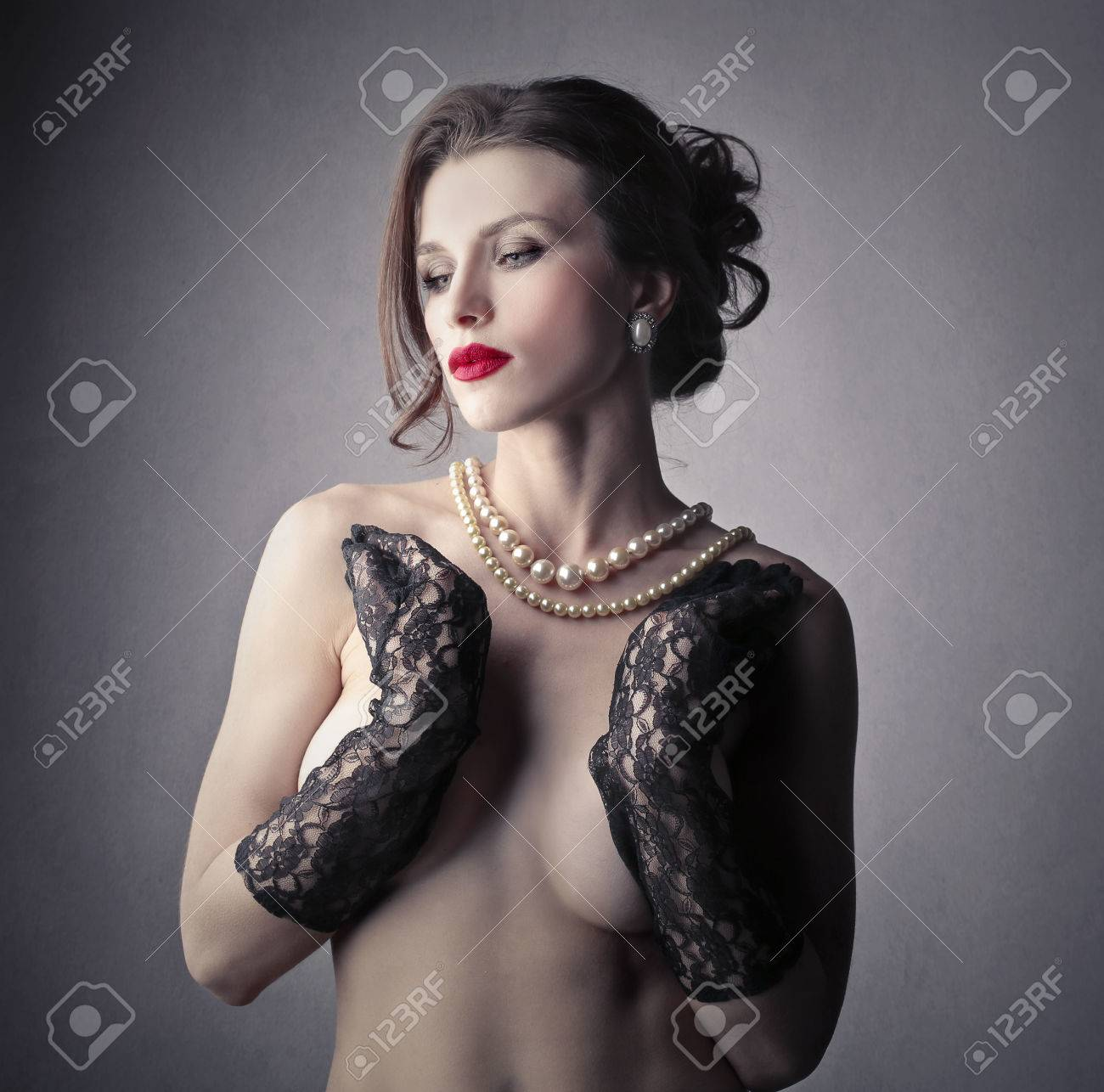 Sensual Woman With Black Gloves And Red Lipstick Stock Photo 50739622