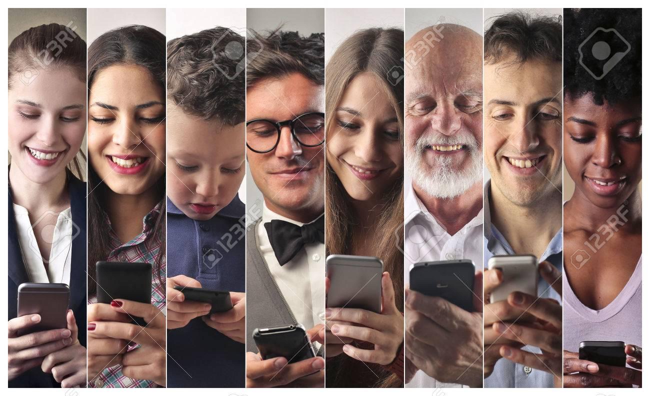 People using smart phones Standard-Bild - 59829826