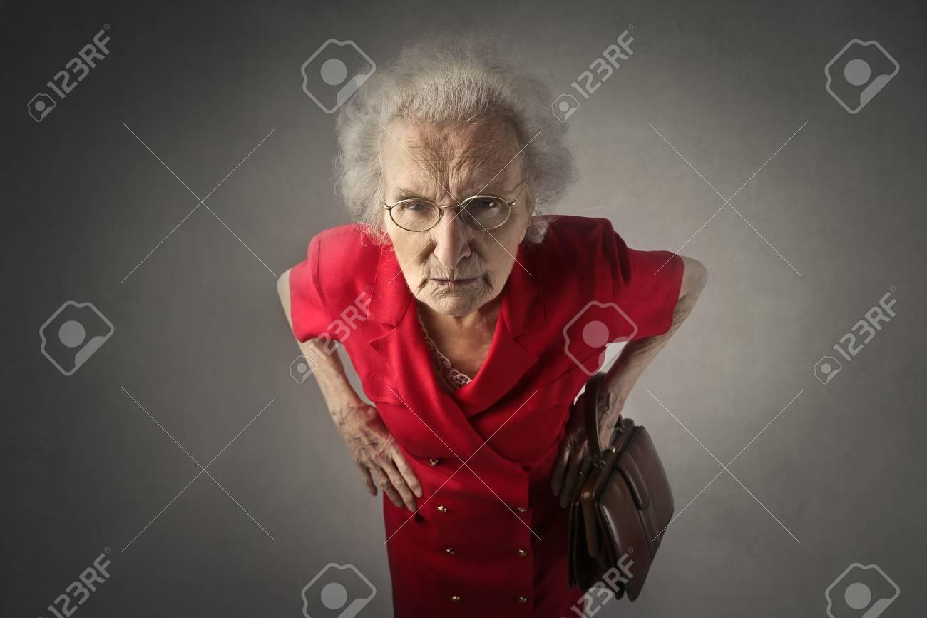 Angry elderly woman Standard-Bild - 59244052