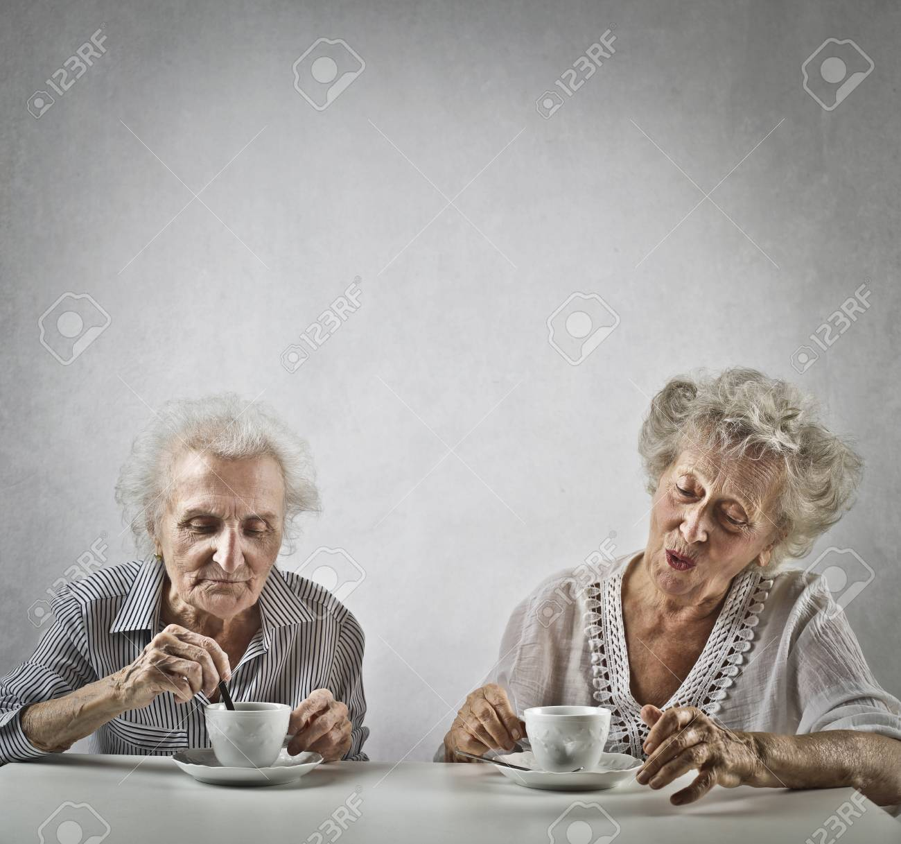 Old Lady Drinking Coffee
