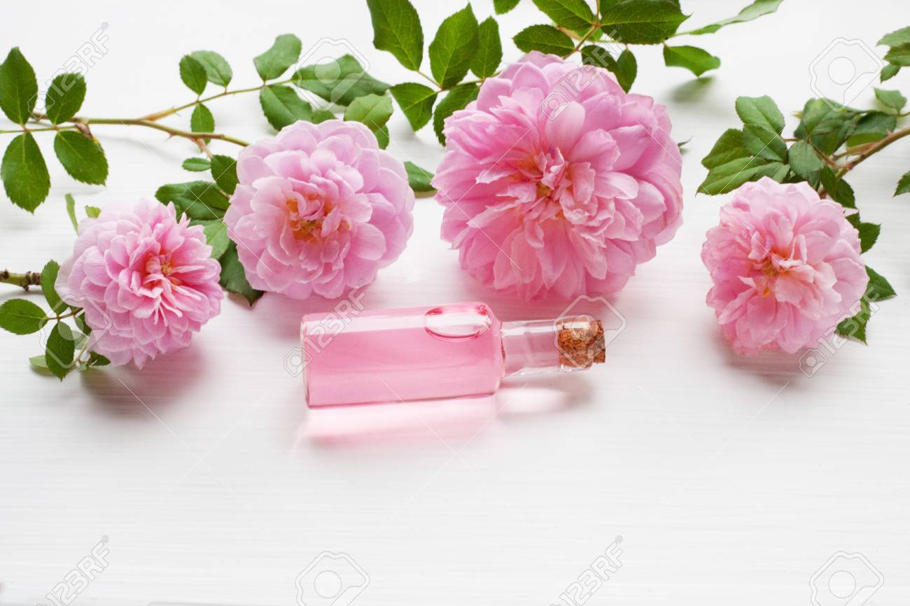 Bottles Of Essential Rose Oil For Aromatherapy On White, Huntington ...