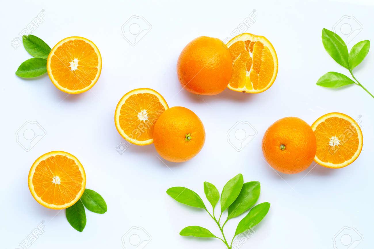 High vitamin C, Juicy and sweet. Fresh orange fruit on white background. - 157701746