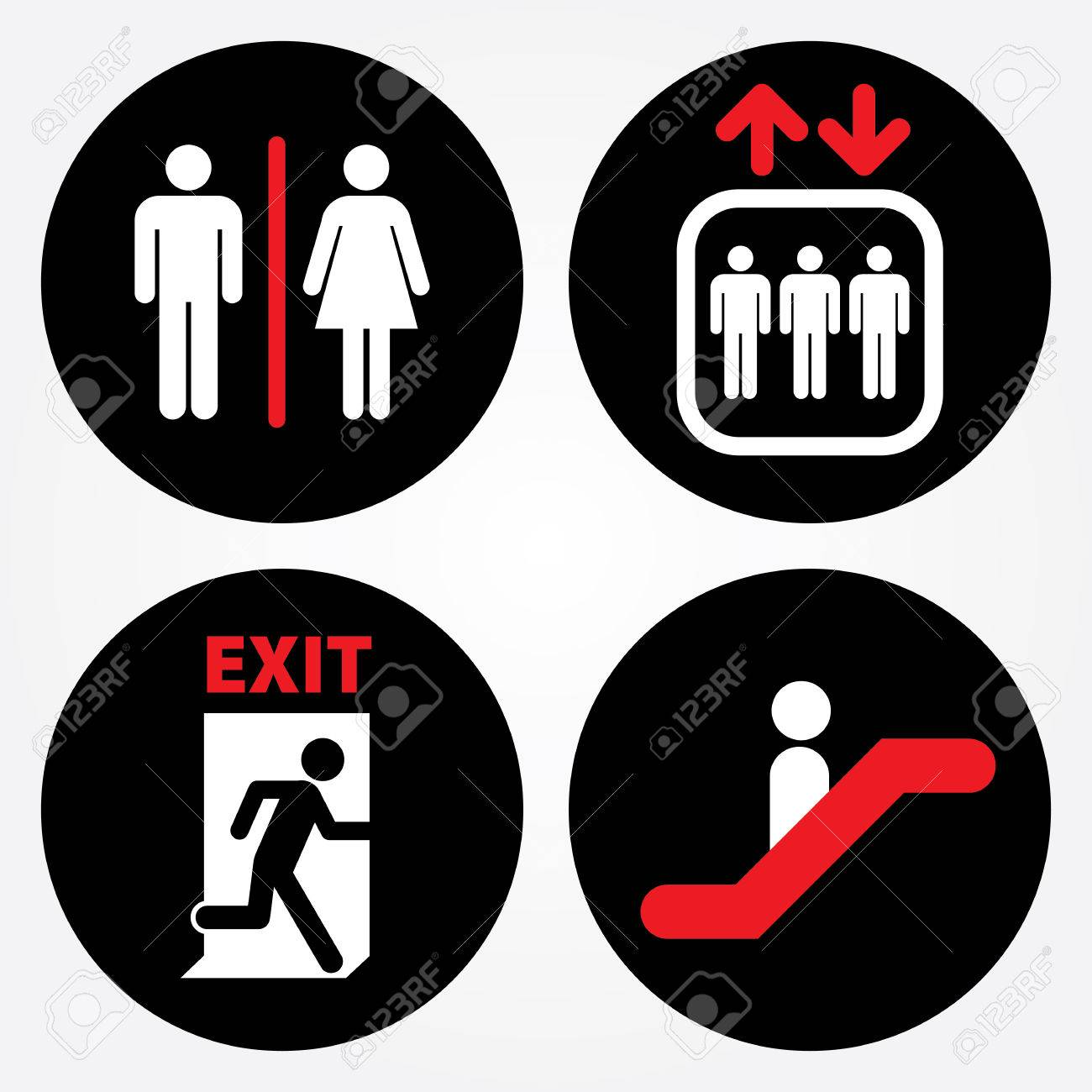 toilet sign escalator sign elevator sign emergency exit door