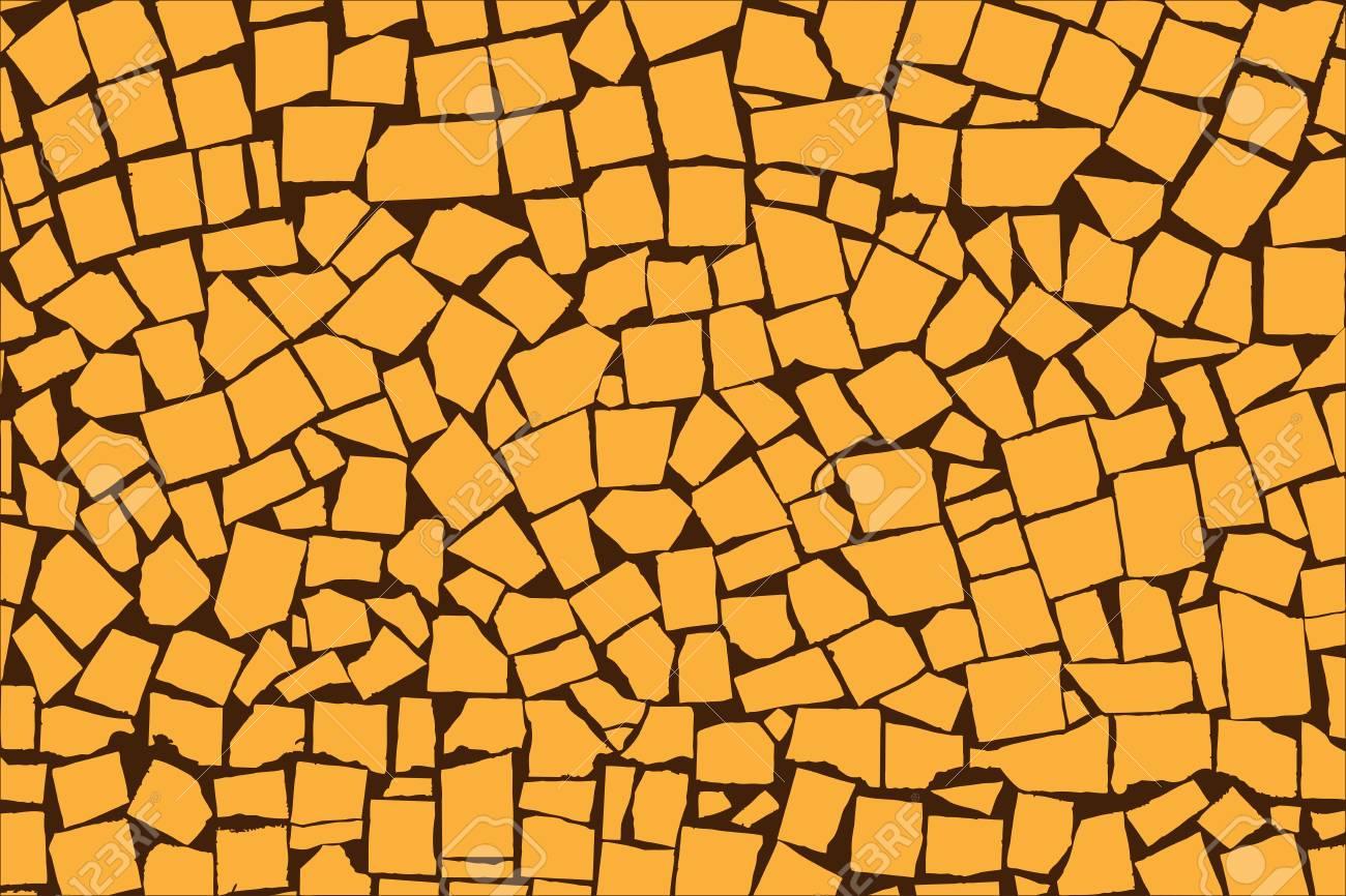Vector Texture Of Orange Asymmetric Decorative Tiles Wall. Vector ...