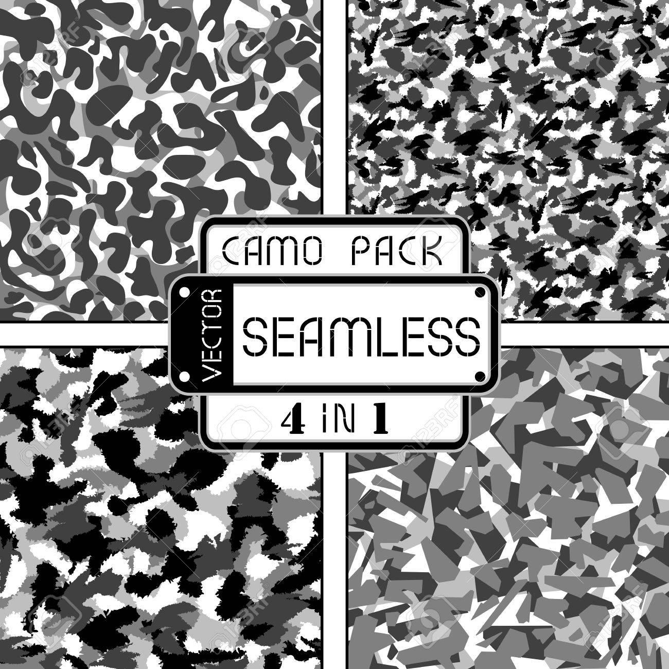 Guerre En Noir Et Blanc Paquet De Camouflage Urbain 4 En 1 Seamless Vector Pattern Peut être Utilisé Pour Le Papier Peint Motifs De Remplissage
