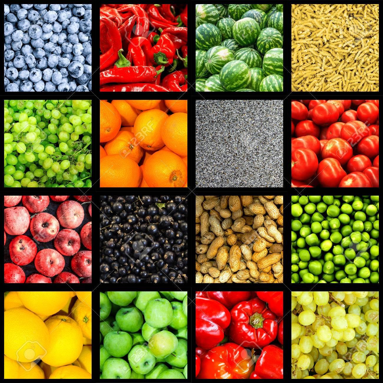 Mezclar Collage De 16-en-1 Fondo De Alimentos Dividido Por El Marco ...