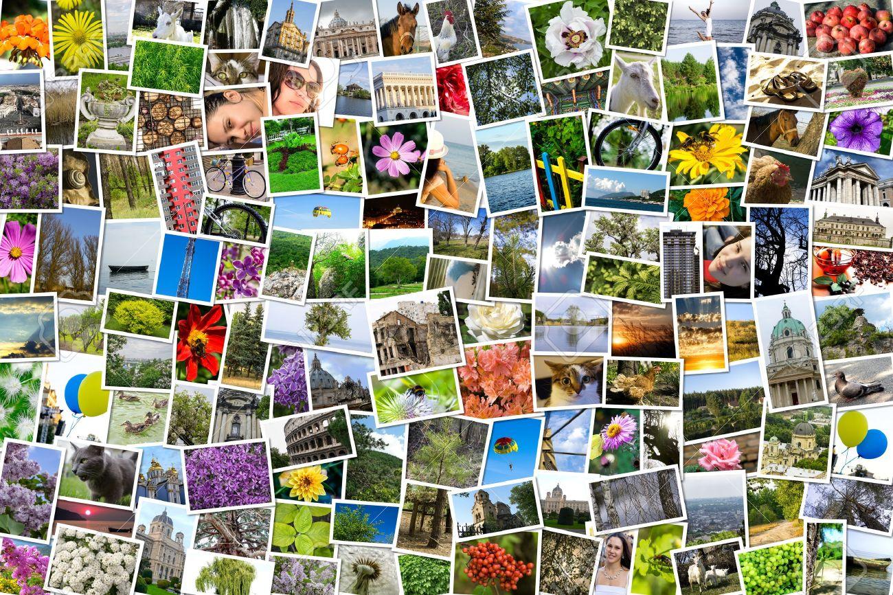 Asimétrico Collage Mezcla Mosaico De 200 Fotos De Estilo De Vida, La ...