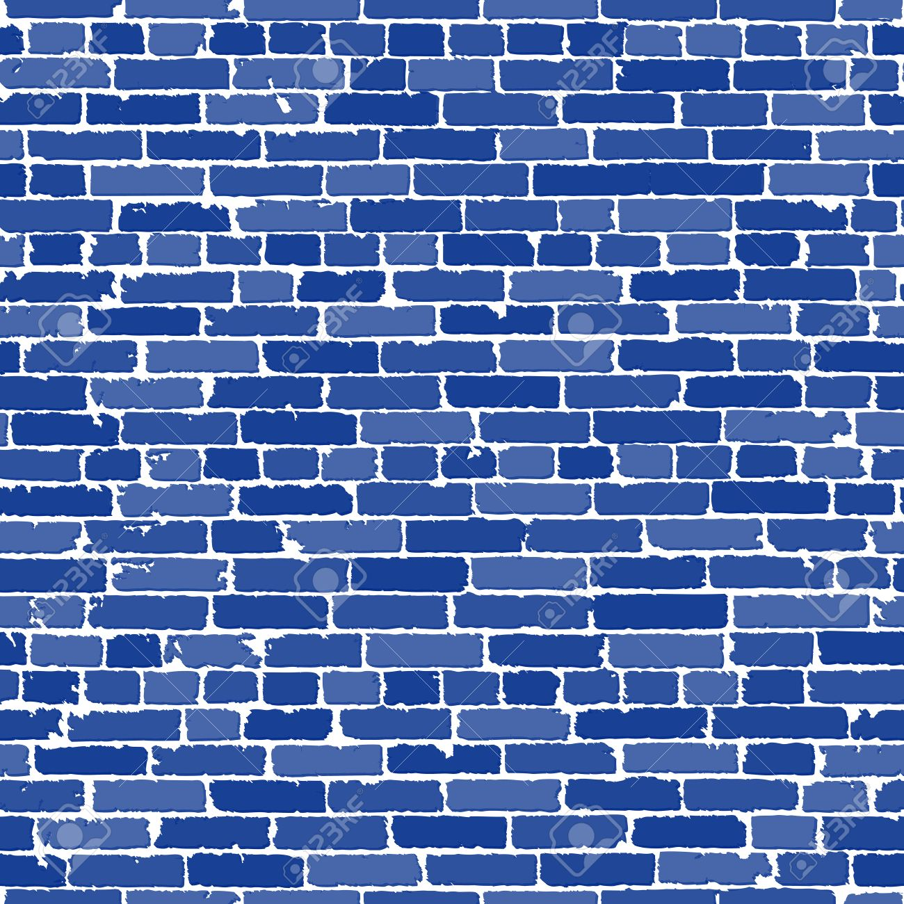 Vector seamless texture of blue realistic old brick wall with shadows. Vector illustration - 54974995