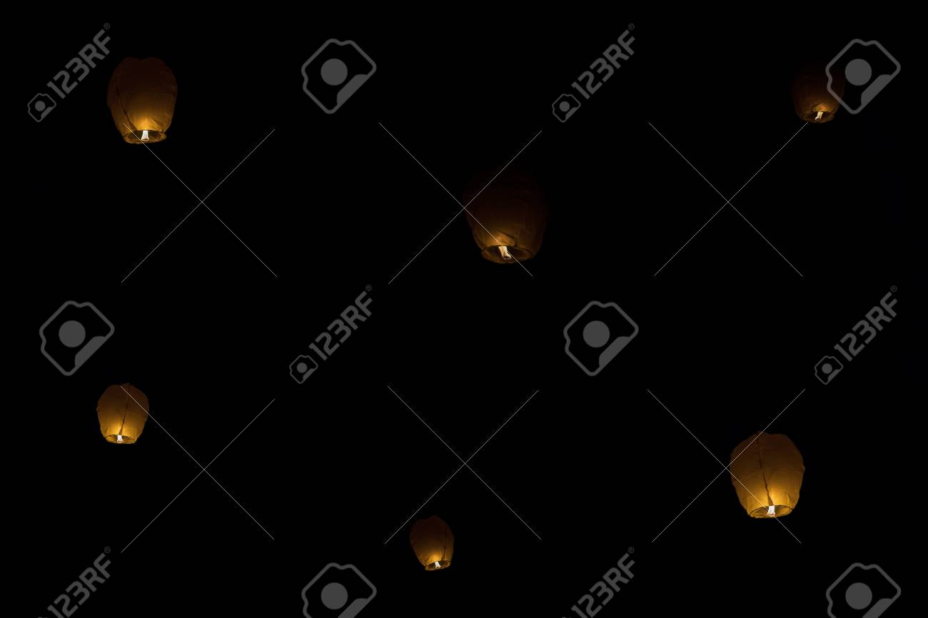 Chinese Sky Lanterns Of Love At Night Sky Stock Photo Picture And Royalty Free Image Image 54976795