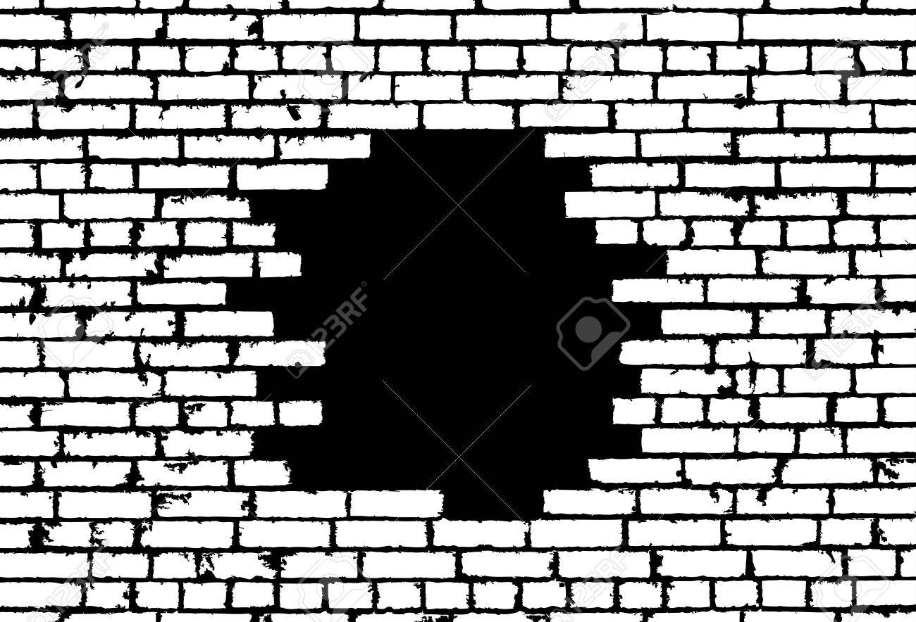 Broken Realistic Old White Brick Wall Concept On Black Background Vector Illustration Stock