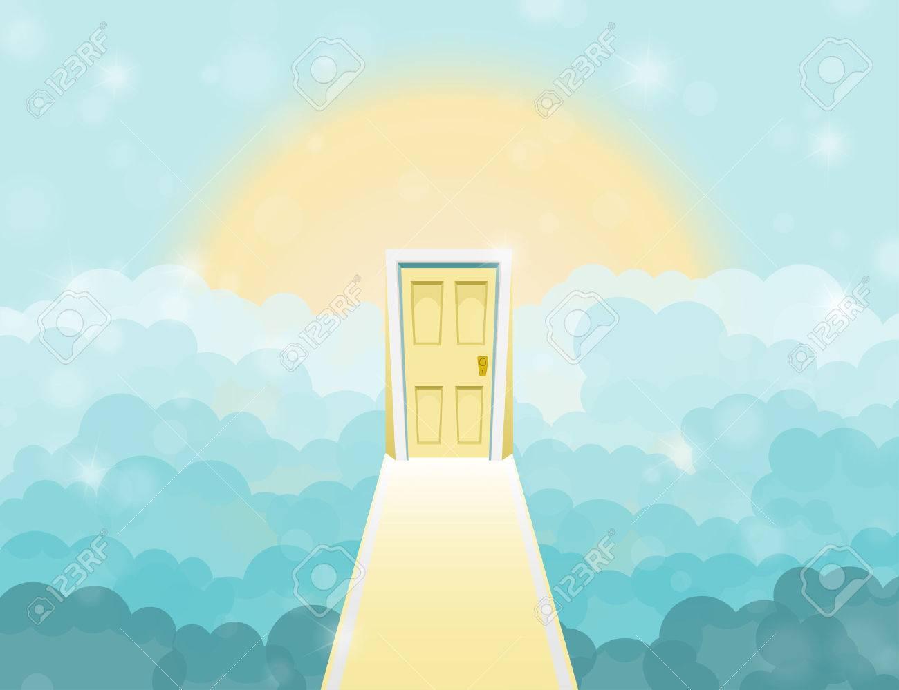 Cartoon door to heaven in the sky. Vector illustration - 57405854