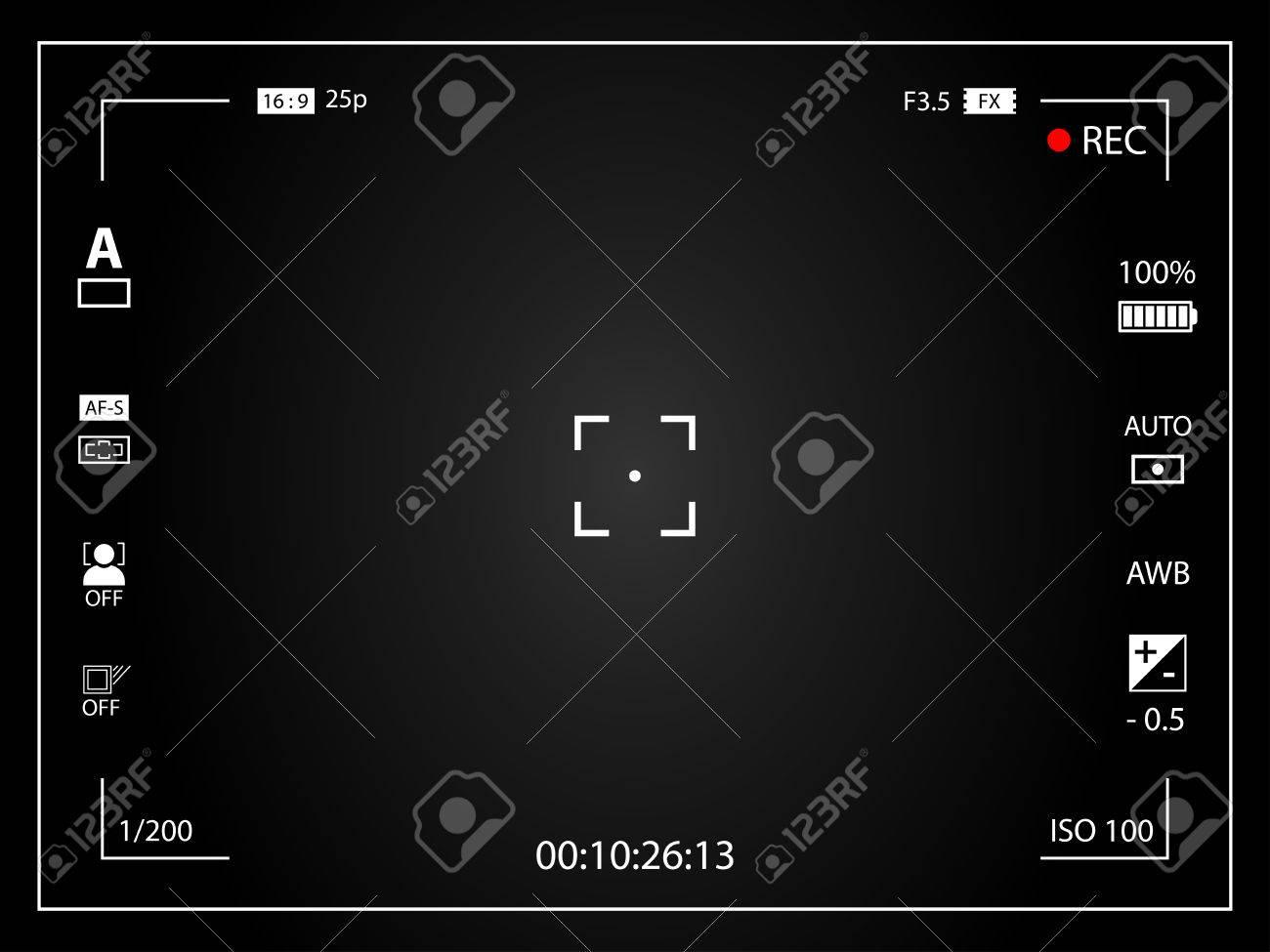Cámara De Vídeo Digital Moderna Pantalla De Enfoque Con Los Ajustes ...