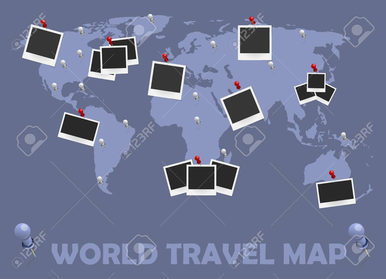 World Travel Map With Photo Frames And Pins Journey Concept - World travel map with pins and frame