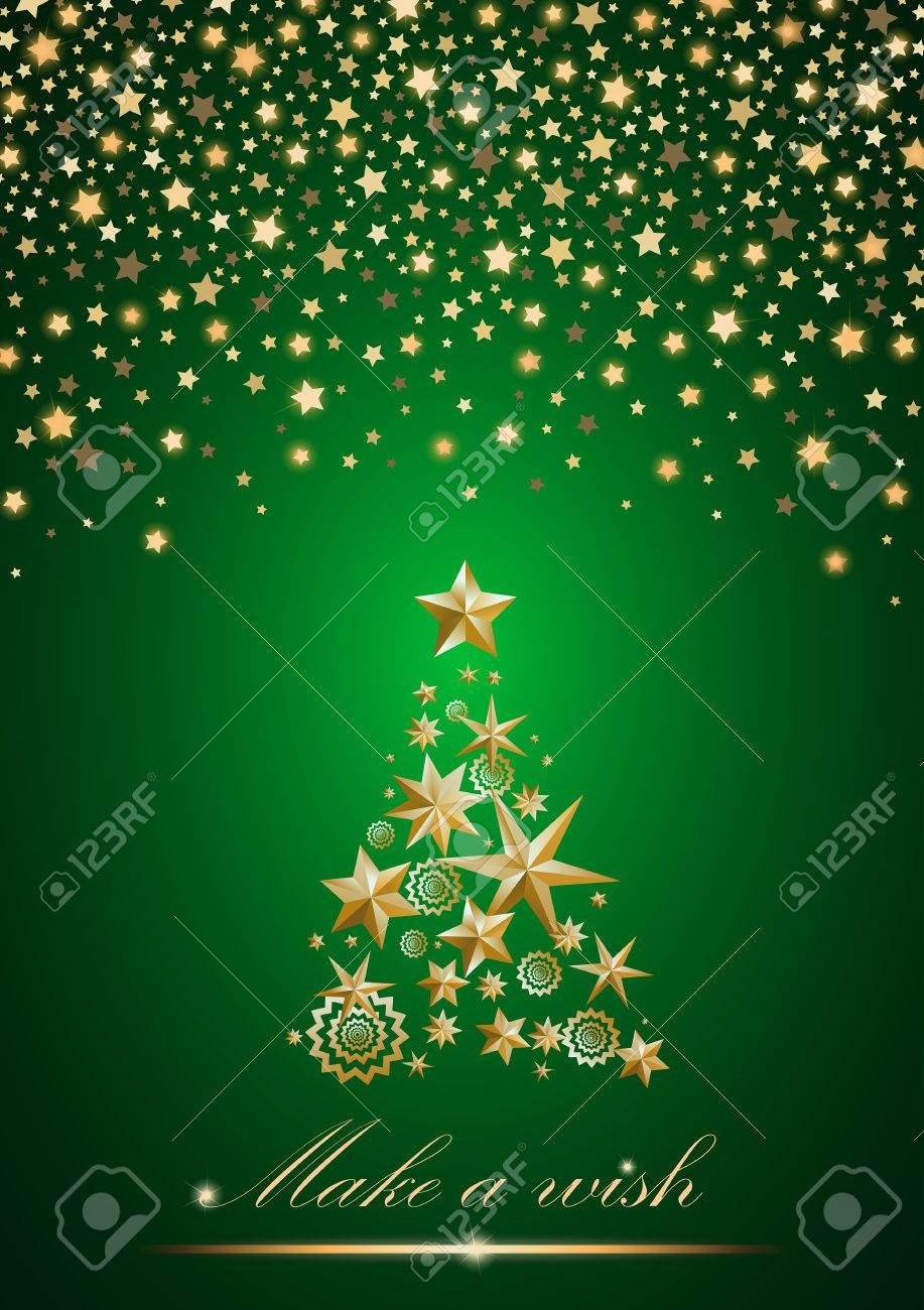 new year and christmas card design gold christmas tree made