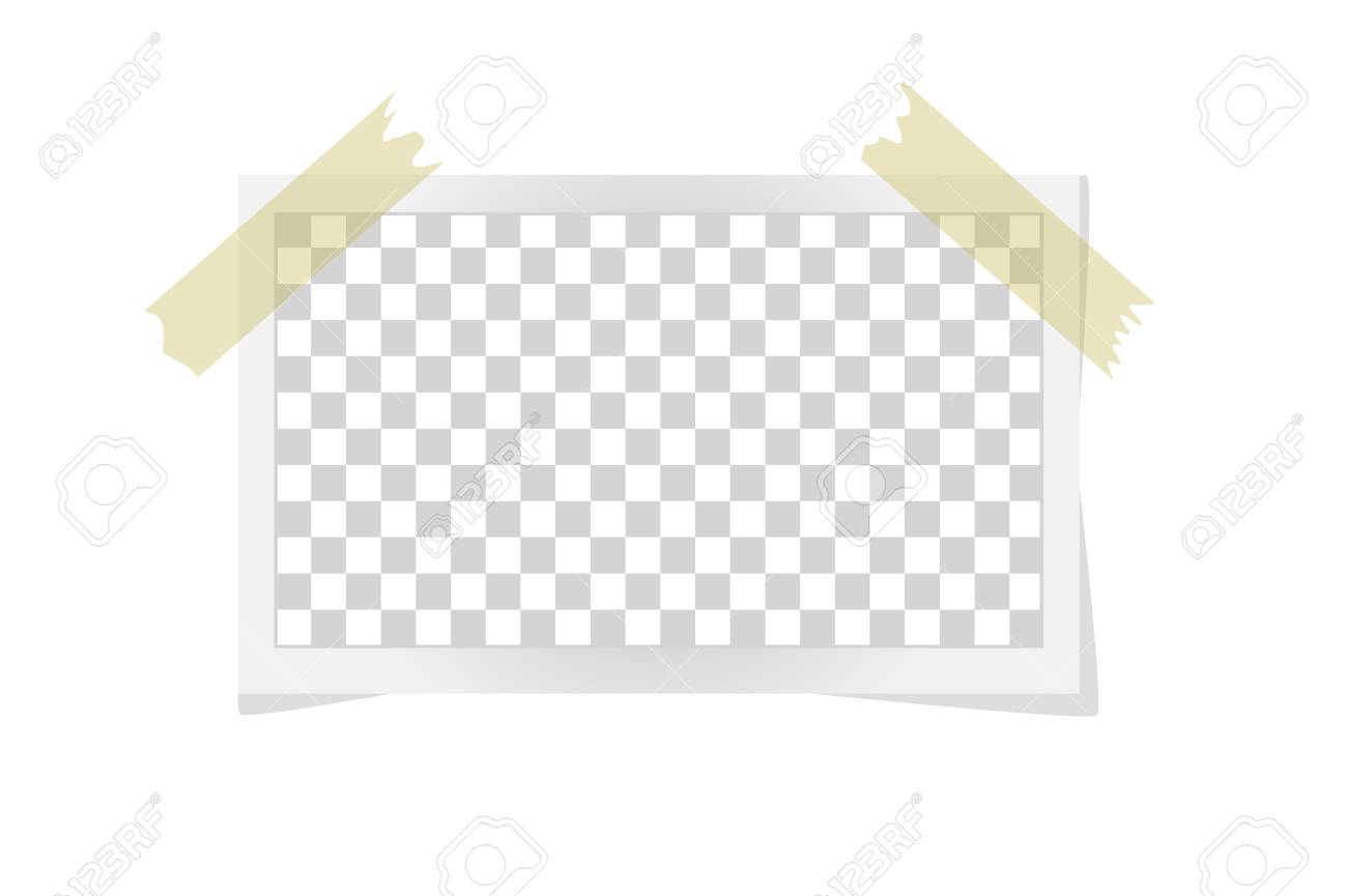 square frame template on sticky tape with shadows isolated on