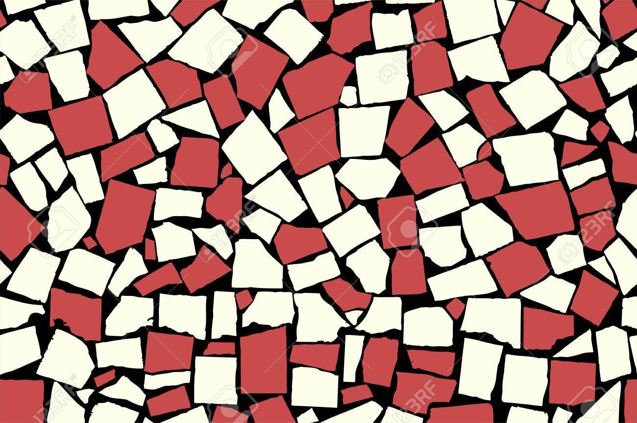 Seamless texture of red asymmetric decorative tiles stock photo