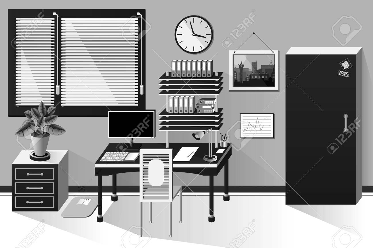 Salle de bureau intérieur en style classique noir et blanc banque