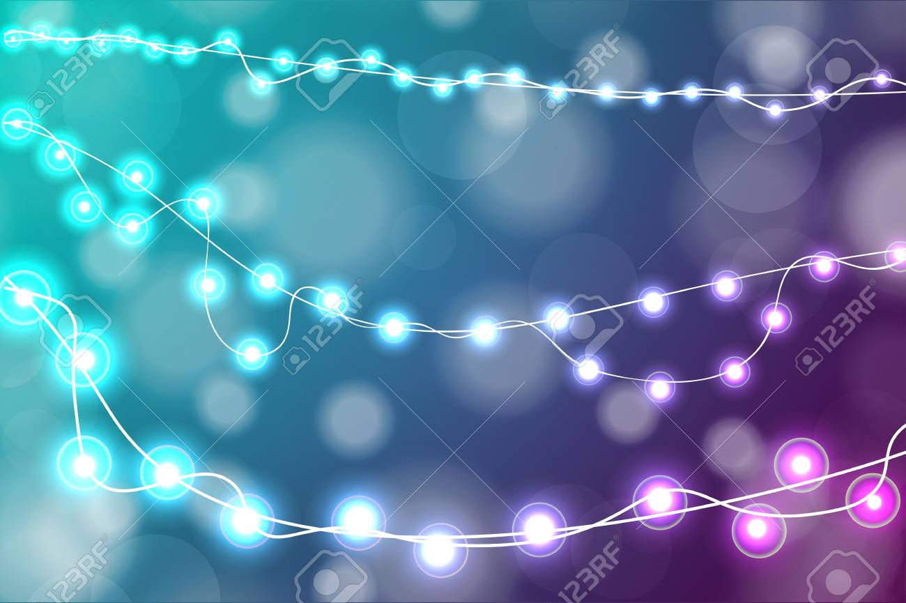 Turquoise Christmas Lights.Realistic Christmas Lights Decorations On Cyan And Purple Background