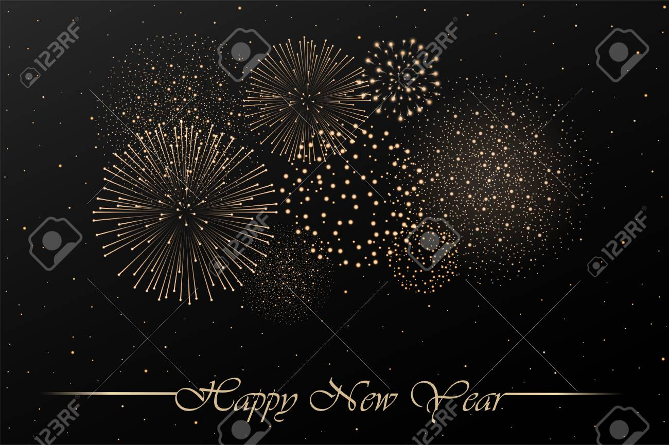 firework show on black night sky background new year concept congratulations background vector