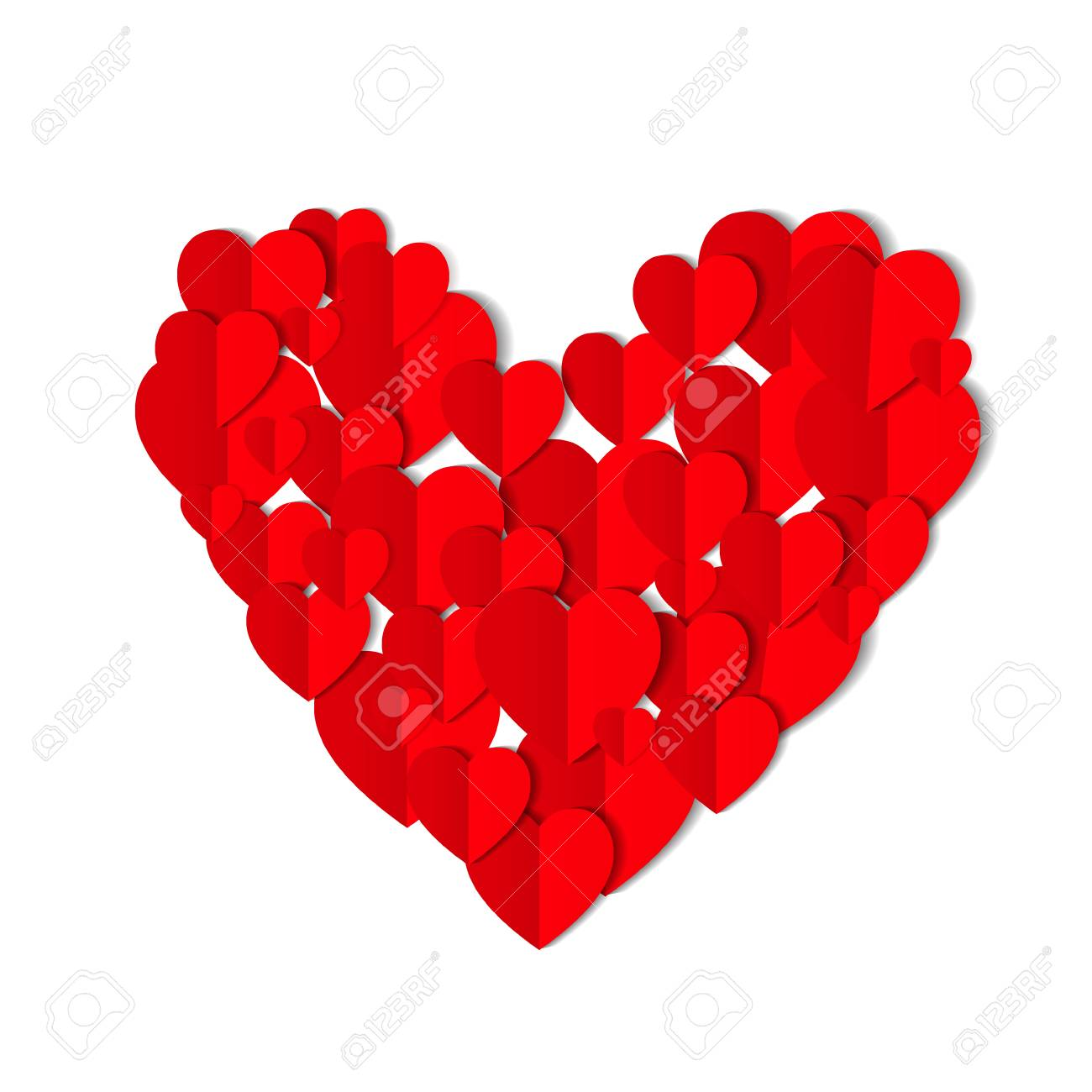 Red origami paper hearts isolated on white background. Valentines day concept. Love, feelings, tenderness design. Vector illustration - 126390611
