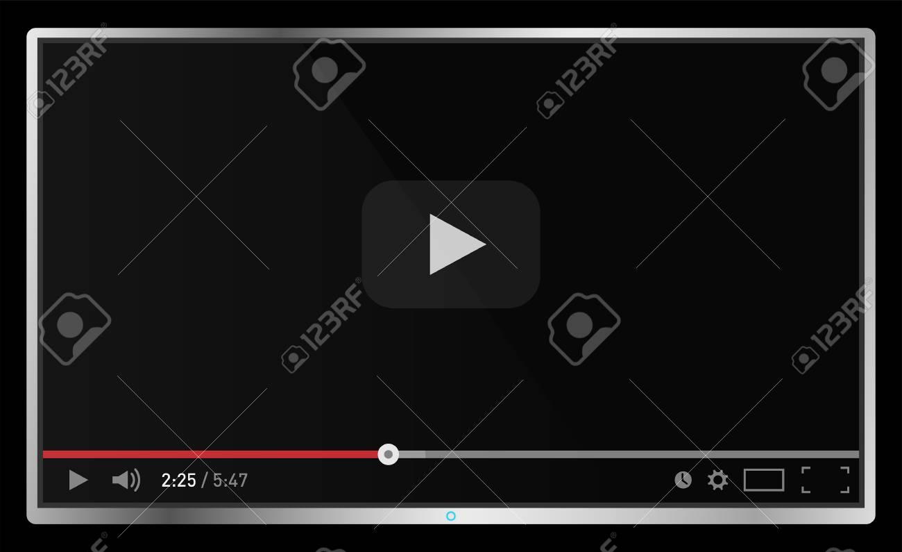 Realistic modern flat 4k TV monitor isolated on black background