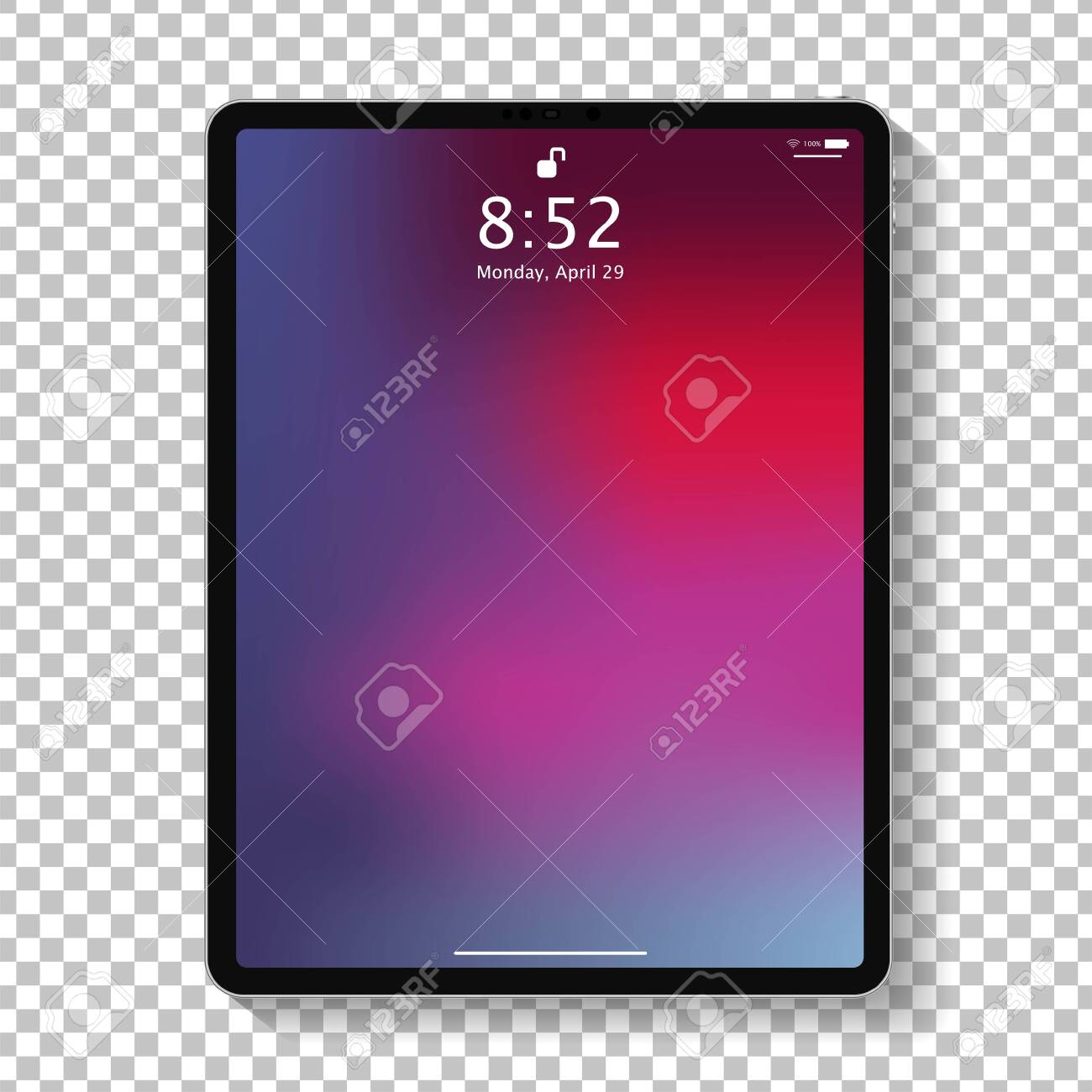 Realistic tablet computer lock screen with abstract colored geometric wallpaper. Big and small modern tablet PC design isolated on transparent background. Vector Illustration - 122923812