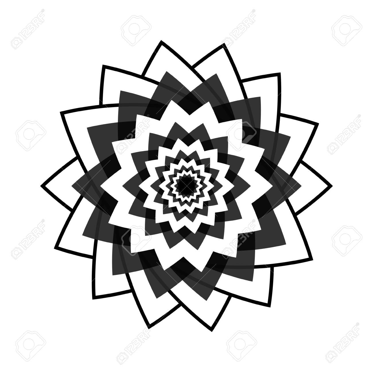 Light Black Abstract Geometric Flower Template Business Abstract