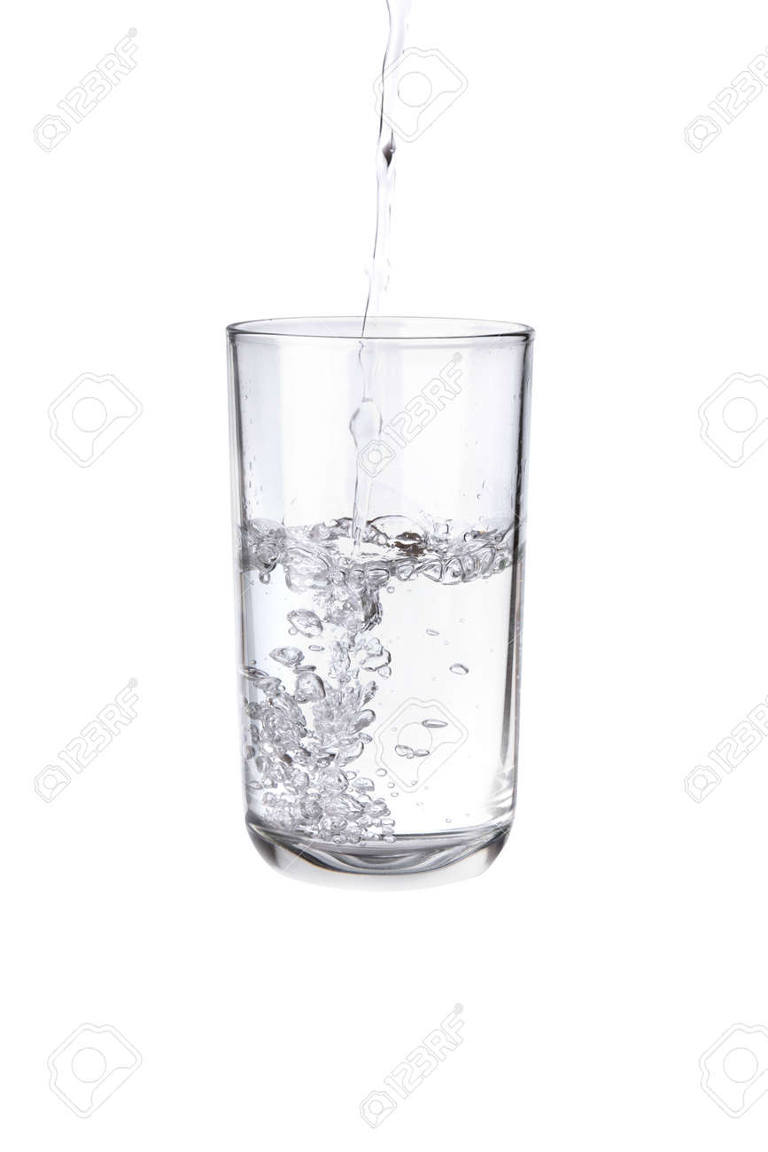 Pouring water into a separate glass on a white background. Clean drinking water concept - 159355555