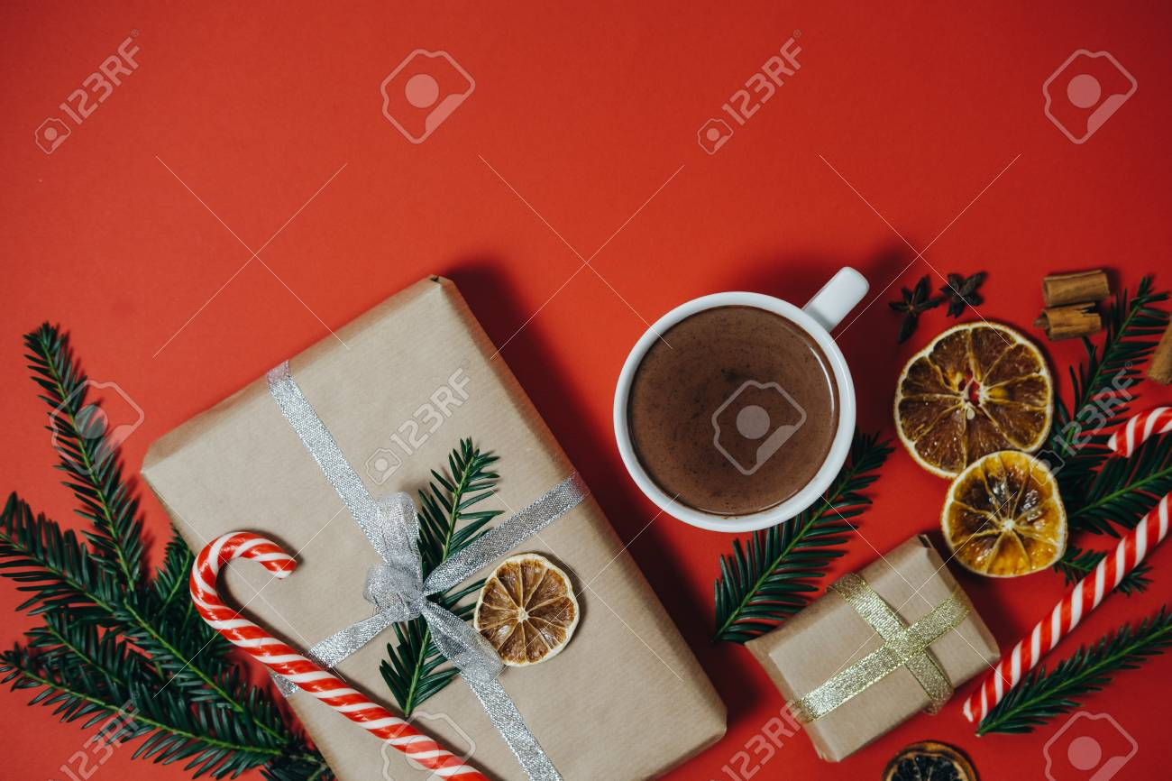 Holiday Background With Fir Tree, Hot Chocolate, Gift, Candy.. Stock ...